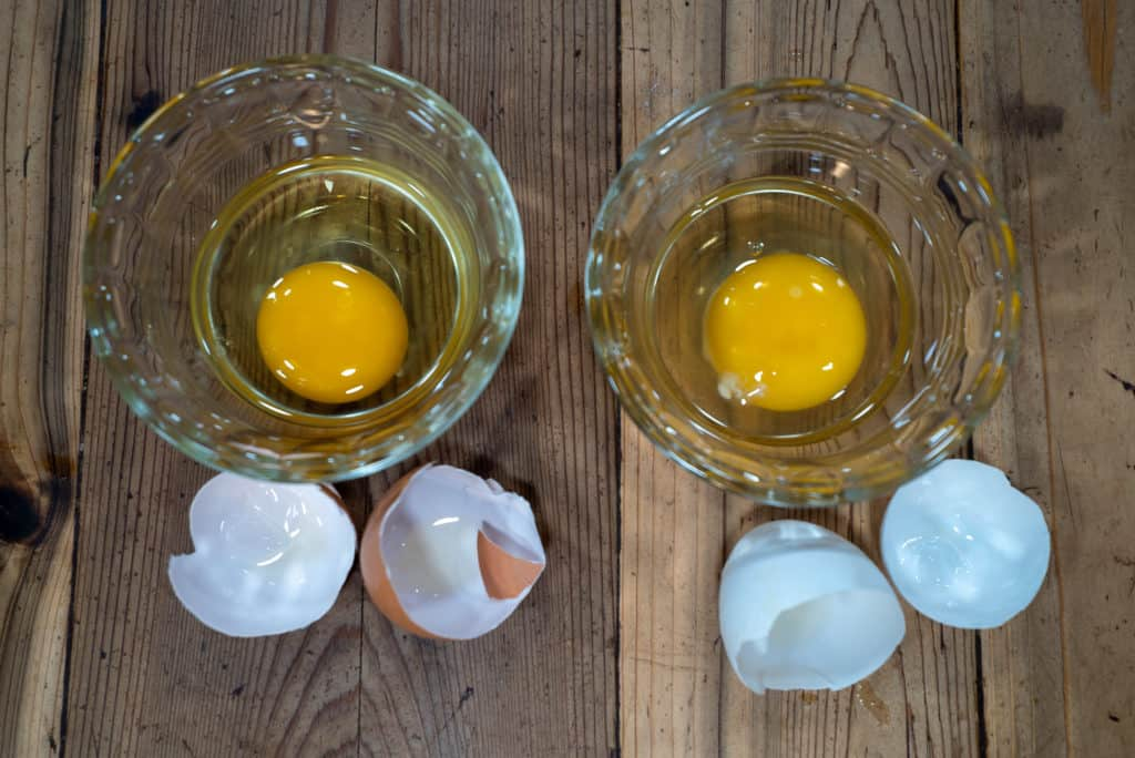 Two cracked eggs in glass bowls with shells sitting on the counter in front of the bowls.