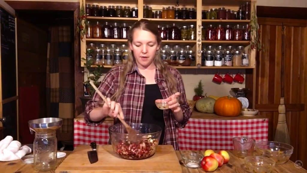 Woman stirring ingredients for fermented cranberry sauce in a bowl.