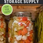 "Home canned vegetables on a pantry shelf. Text overlay says, ""Build Up Your Long-Term Food Storage Supply"""
