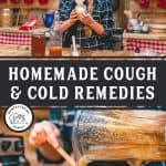 Pin image: Homemade cough and cold remedies with two images. The top of a woman holding a jar of garlic salve, the bottom of the garlic salve being poured from the blender into a jar.
