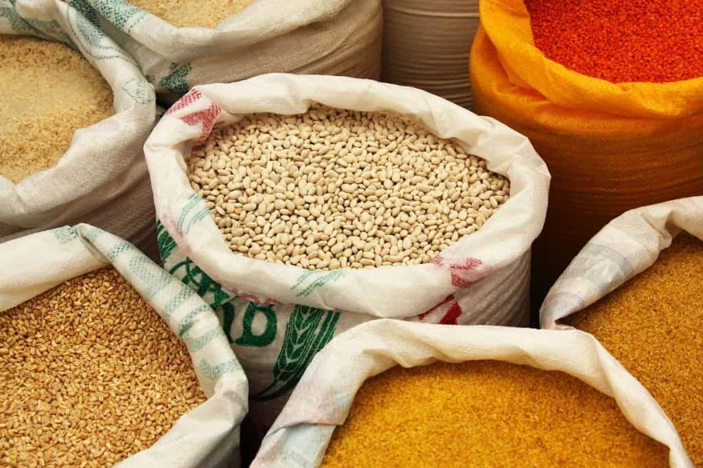 Bags of bulk dry food