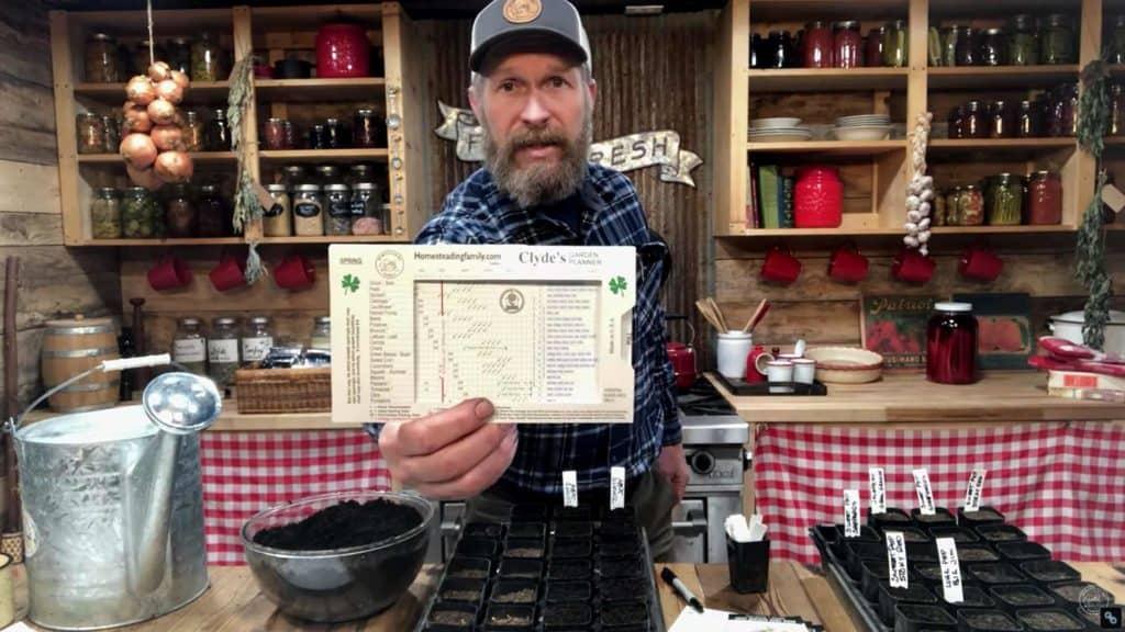 A man holding up a Clyde's Garden Planner.