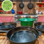 "Image of cast iron cookware with text overlay, ""Tips for Buying Cast Iron Cookware""."