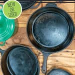 "Picture of three cast iron skillets with text overlay, ""Tips for Buying Cast Iron Cookware""."
