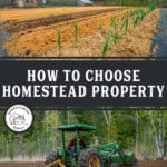 "Two images, one of a garden the other of a field being tilled by a tractor. Text overlay says, ""How to Choose Homestead Property""."