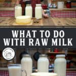 "A Pinterest pin with an image of a woman holding up a glass of milk and three jars of milk plus a large cheese wheel on a counter in front of her. Text overlay says, ""What To Do With Raw Milk""."