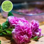 """Pinterest pin with an image of a rose and dried rose petals on the counter. Text overlay says, """"Rose Petal Face Wash""""."""