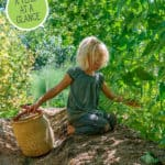 Photo of a young girl harvesting food in the garden. Pinterest pin of what to preserve by month.