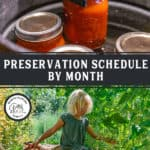 Jars of food in a water bath canner and a photo of a girl harvesting food in the garden. Pinterest pin of what to preserve by month.