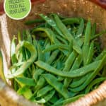 Photo of green beans. Pinterest pin of what to preserve by month.