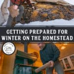 Pinterest pin with two images, one of a snow covered compost pile, the other of a man putting wood into a wood burning cook stove.