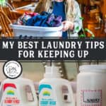 Pinterest pin with an image of a woman holding a laundry basket filled with clothes and another image of laundry detergent bottles.