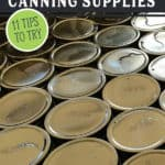 Pinterest pin with an image of a bunch of canning lids.