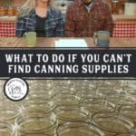 Pinterest pin with two images. One of a bunch of canning jars, the other of a man and woman sitting in the kitchen.
