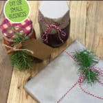 Wrapped gifts on a Pinterest pin for a homesteader's gift guide.