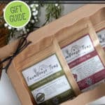 A photo of a tea gift set on a Pinterest pin for a Homesteader's Gift Guide.