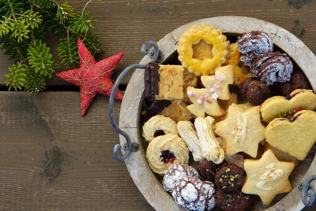 A plate of an assortment of Christmas cookies.