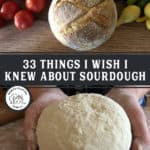 Pictures of sourdough bread for a Pinterest pin on Sourdough baking tips.