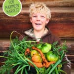 Pinterest pin of a young boy holding a large basket of home-grown produce.