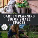 Pinterest pin with two images of people planting in the garden and a planter.