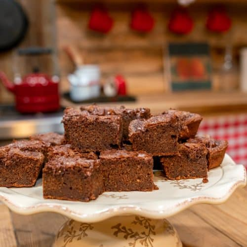 A serving platter of chocolate sourdough brownies.