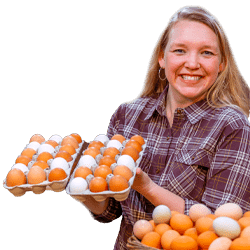 Carolyn holding eggs