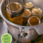 Pinterest pin for home canned chicken chili. Images of canning jars filled with chicken chili.