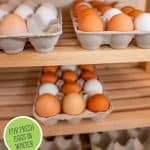 Pinterest pin for preserving or using extra eggs. Photo of a lot of fresh farm-eggs.