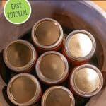 Pinterest pin for canning broth with images of jars of broth in a pressure canner.