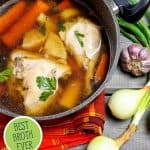Pinterest pin for broth tips with an image of broth.