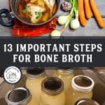 Pinterest pin for broth making tips with images of broth in jars or a large pot.