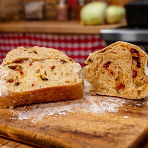 Artisan rosemary and sundried tomato bread.