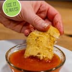 Pinterest pin for five recipes to make with the no-knead five minute bread dough. Images of baked garlic and parmesan rolls being dipped into marinara sauce.