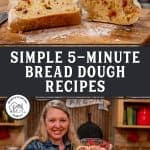 Pinterest pin for five recipes to make with the no-knead five minute bread dough. Images of baked rolls and jamrolls.