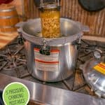 Pinterest pin for pressure canning mistakes to avoid with an image of canned food in a pressure canner.