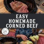 Two images of a corned beef brisket in a crockpot for a Pinterest pin on how to make corned beef.