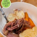 Pinterest pin for homemade corned beef with an image of a bowl filled with corned beef, potatoes, carrots and cabbage.