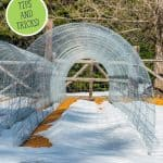 Pinterest pin for early spring garden tips with an image of a hoop house frame and snow on the ground.
