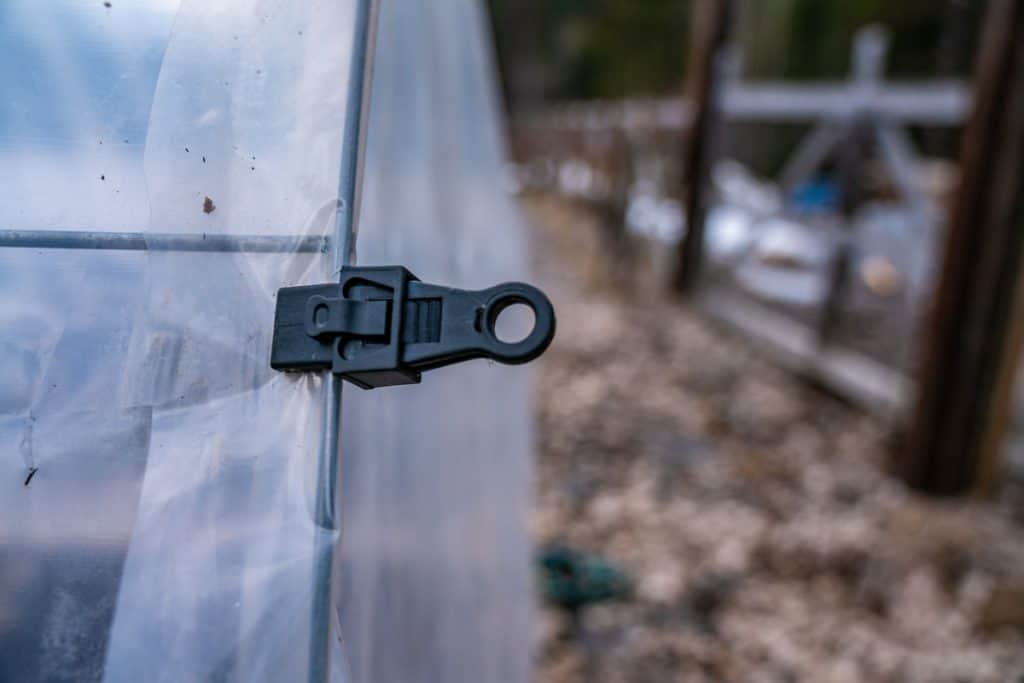 An up close photo of a tarp clip holding on greenhouse plastic for a hoop house.