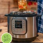 Pinterest pin for canning in the Instant Pot with an image of canned food and an Instant Pot.