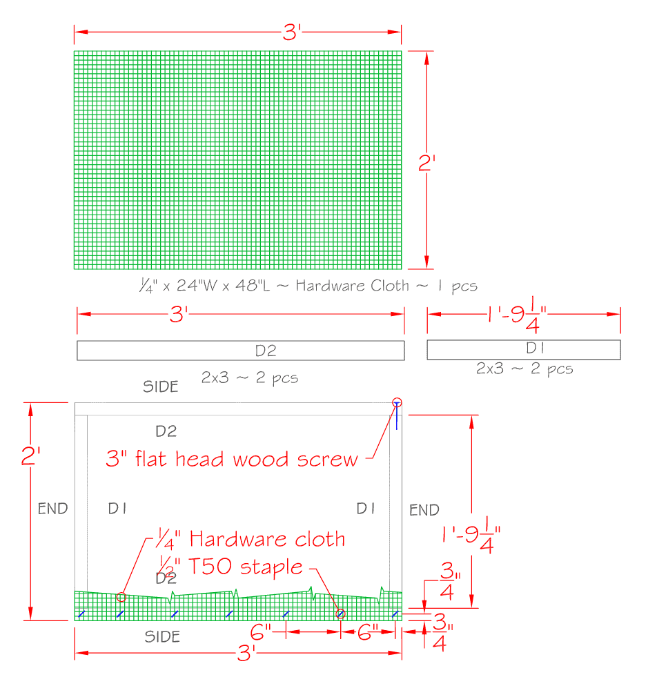 Drawn plans on graph paper for how to build a compost sifter.