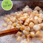 Pinterest pin for rendering lard with an image of pig fat being cooked down.