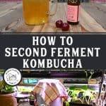 Pinterest pin for cherry almond kombucha (second fermentation) with photos of kombucha in a mason jar with cherries.