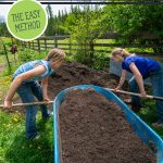 Pinterest pin for how to make compost the easy way at home. Image of two young girls shoveling compost into the garden.