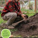 Pinterest pin for how to make compost the easy way at home. Image of a man crouched beside a large pile of compost.