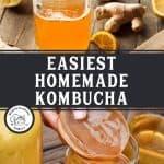 Pinterest pin for homemade kombucha with an image of kombucha.