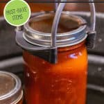 Pinterest pin for getting ready for the canning season. Image of jars of food.