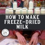 Pinterest pin on how to freeze or freeze dry milk. Images of both fresh milk and freeze-dried milk.