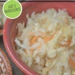 Pinterest pin for homemade sauerkraut. Image of homemade sauerkraut.