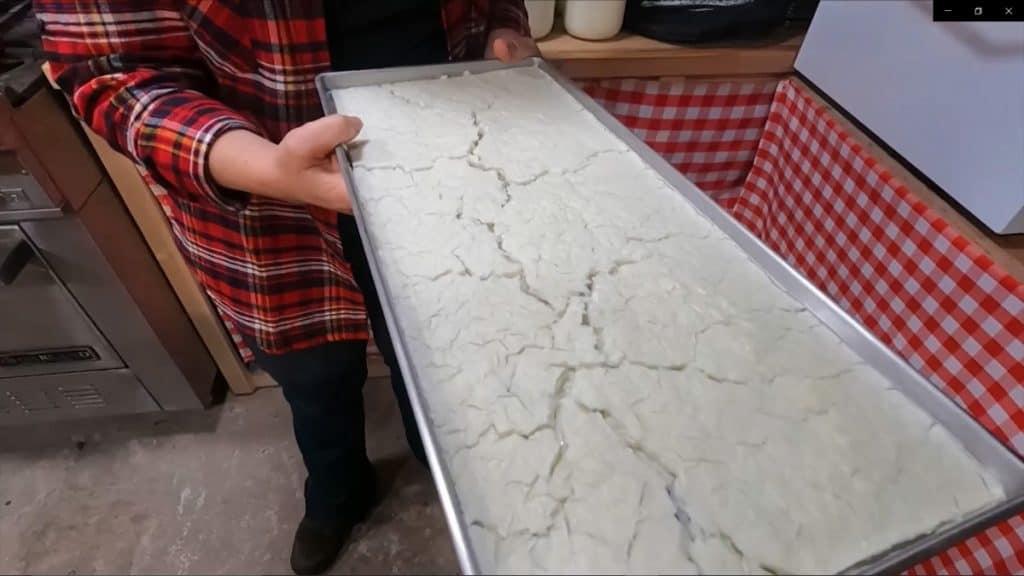 A tray of freeze dried milk.